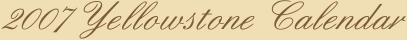 2007 Yellowstone Calendar
